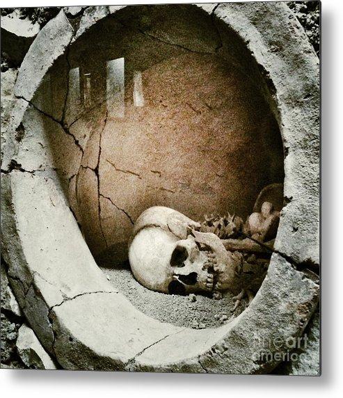 Horror Metal Print featuring the photograph Skull by Temizyurek
