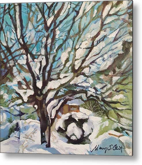 Cherry Tree Metal Print featuring the painting Snow Covered Cherry Tree by Mary Chant