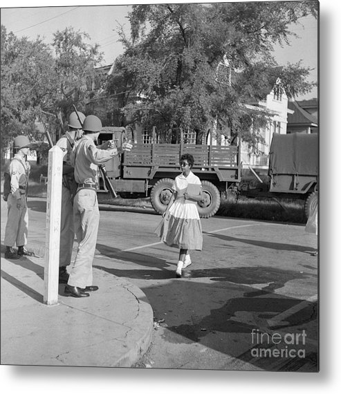 Young Men Metal Print featuring the photograph Soldiers Stopping African American Girl by Bettmann