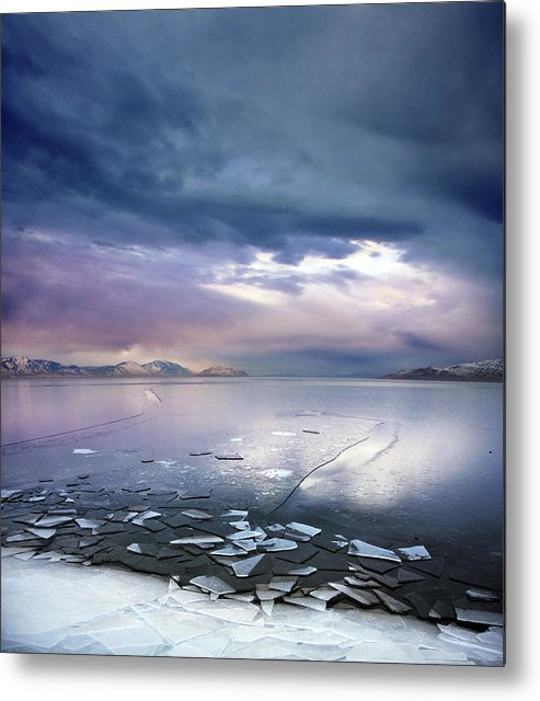 Scenics Metal Print featuring the photograph Storm Clouds Clearing Over Icy Lake by Utah-based Photographer Ryan Houston