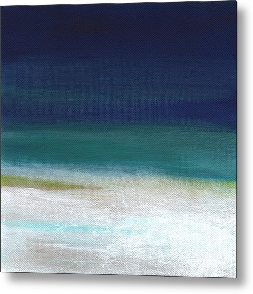 Abstract Metal Print featuring the painting Surf and Sky- abstract beach painting by Linda Woods