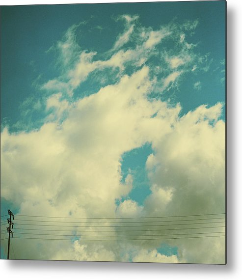 Telephone Line Metal Print featuring the photograph Telephone Lines Against Cloudy Blue Sky by Zen Sekizawa