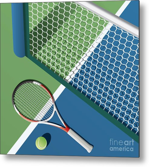 Play Metal Print featuring the digital art Tennis Court by Nikola Knezevic