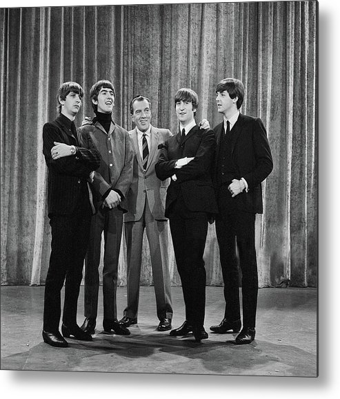 The Beatles Metal Print featuring the photograph the beatles and ed sullivan - February, 1964 by Mountain Dreams