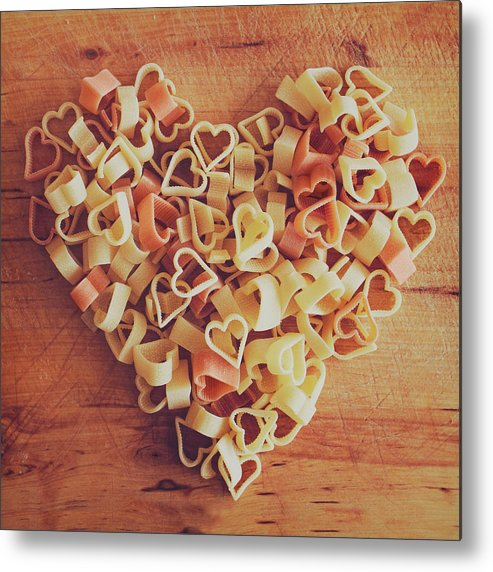 Italian Food Metal Print featuring the photograph Uncooked Heart-shaped Pasta by Julia Davila-lampe