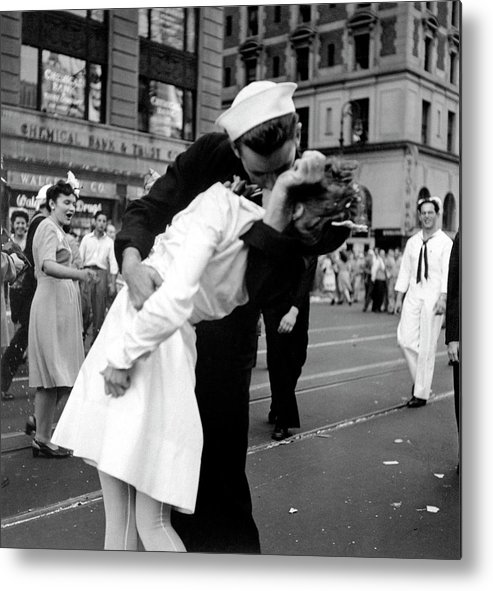 Timeincown Metal Print featuring the photograph Us Sailor Bending Young Nurse Over His A by Lt. Victor Jorgensen