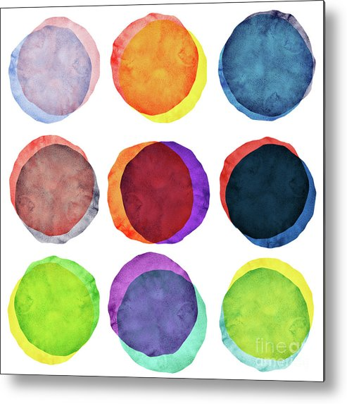 Watercolor Painting Metal Print featuring the photograph Watercolor Painted Circles Various by Momentousphotovideo