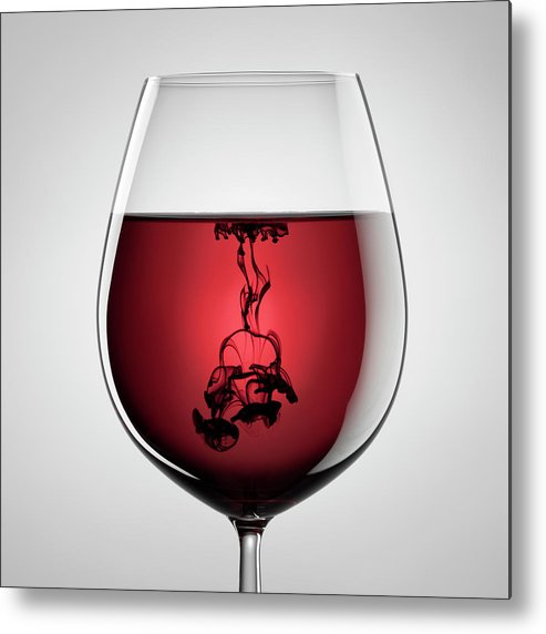 Shadow Metal Print featuring the photograph Wineglass, Red Wine And Black Ink by Thomasvogel