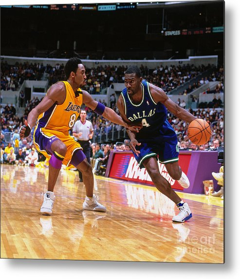 Nba Pro Basketball Metal Print featuring the photograph Michael Finley and Kobe Bryant by Robert Mora