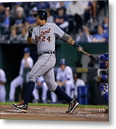 American League Baseball Metal Print featuring the photograph Miguel Cabrera by Ed Zurga