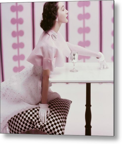 Fashion Metal Print featuring the photograph A Portrait of Dovima in Tina Leser by Richard Rutledge