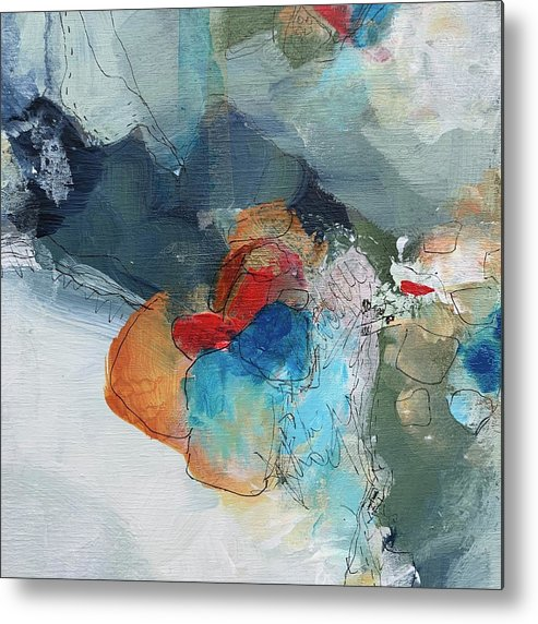 Red Metal Print featuring the painting A Stitch In Time by Darlene Watson