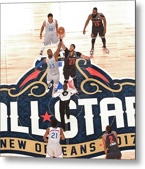 Event Metal Print featuring the photograph Anthony Davis and Lebron James by Garrett Ellwood