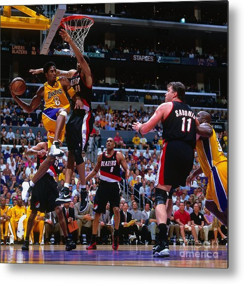 Playoffs Metal Print featuring the photograph Arvydas Sabonis, Kobe Bryant, and Rasheed Wallace by Andrew D. Bernstein