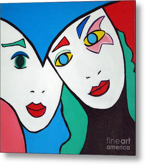 Pop-art Metal Print featuring the painting Best Friends by Silvana Abel
