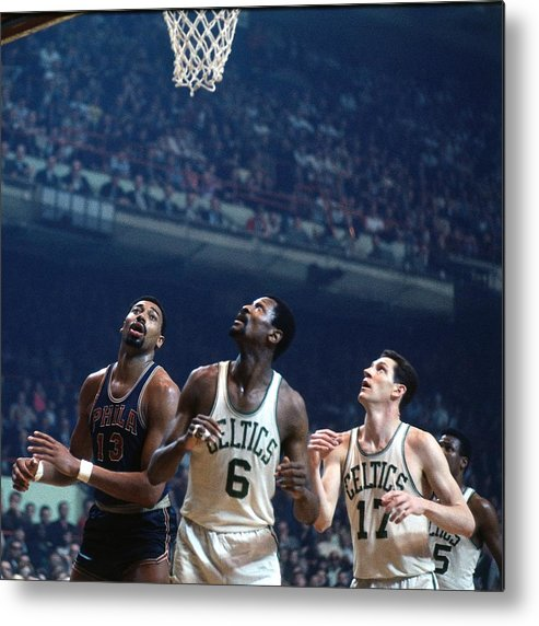 Nba Pro Basketball Metal Print featuring the photograph Bill Russell, John Havlicek, and Wilt Chamberlain by Dick Raphael