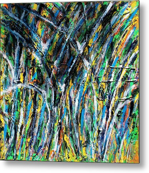 Blue Metal Print featuring the painting Bright Summer Day by Pam Roth O'Mara