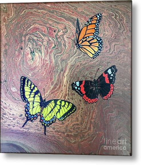 Butterflies Metal Print featuring the painting California Butterflies by Lucy Arnold