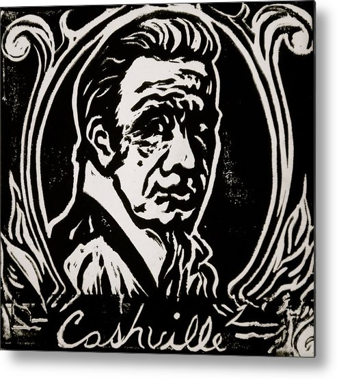 Johnny Cash Metal Print featuring the drawing Cashville by Pete Maier