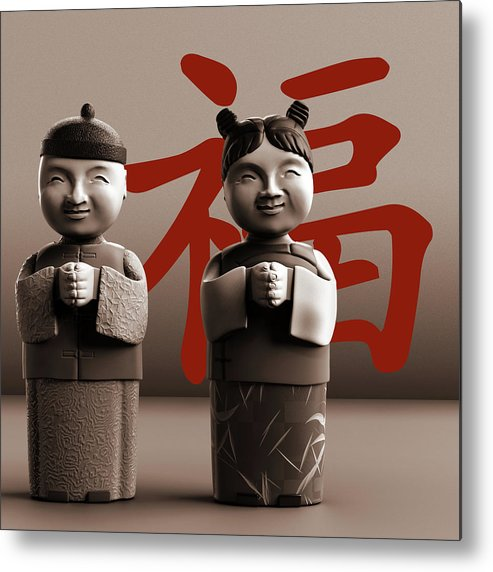 Chinese Metal Print featuring the digital art Chinese Statues_Sepia by Heike Remy