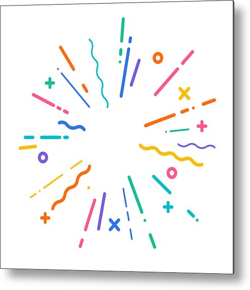 Hyphen Metal Print featuring the drawing Colorful Modern Explosion by Filo