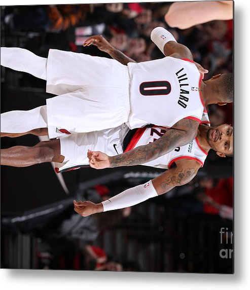Nba Pro Basketball Metal Print featuring the photograph Damian Lillard and Kent Bazemore by Sam Forencich