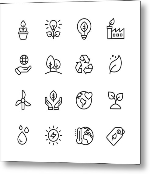 Environmental Conservation Metal Print featuring the drawing Ecology and Environment Line Icons. Editable Stroke. Pixel Perfect. For Mobile and Web. Contains such icons as Leaf, Ecology, Environment, Lightbulb, Forest, Green Energy, Agriculture. by Rambo182