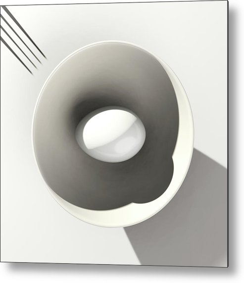 Egg Metal Print featuring the digital art Egg and Bowl after Cesare Onestini by Heike Remy