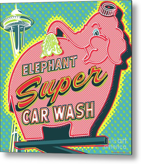 Pop Art Metal Print featuring the digital art Elephant Car Wash and Space Needle - Seattle by Jim Zahniser
