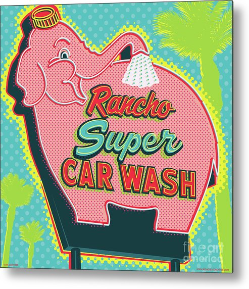 Pop Art Metal Print featuring the digital art Elephant Car Wash - Rancho Mirage - Palm Springs by Jim Zahniser