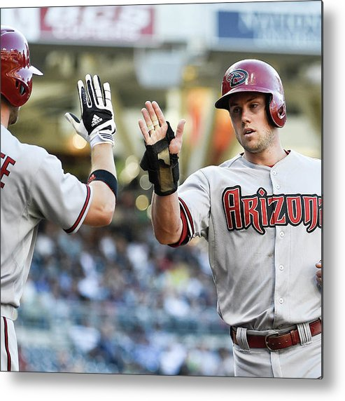 Second Inning Metal Print featuring the photograph Ender Inciarte and Chris Owings by Denis Poroy
