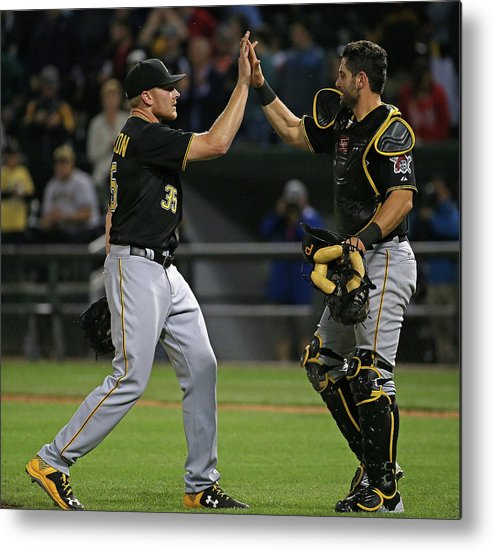 People Metal Print featuring the photograph Francisco Cervelli and Mark Melancon by Jonathan Daniel