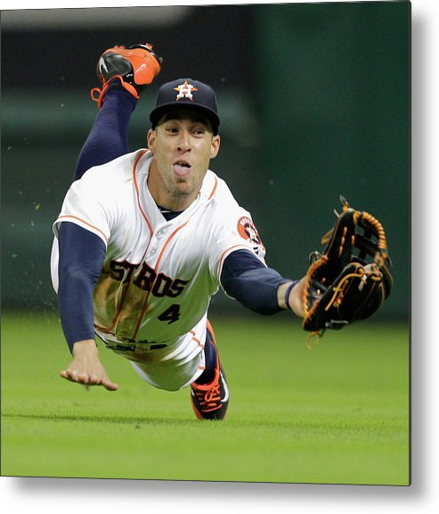 American League Baseball Metal Print featuring the photograph George Springer by Bob Levey