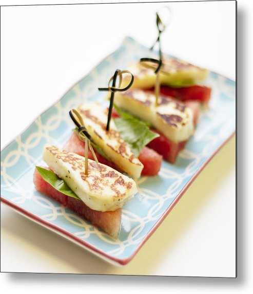 Cheese Metal Print featuring the photograph Healthy Eating - Watermelon With Halloumi Cheese by Gregoria Gregoriou Crowe fine art and creative photography.