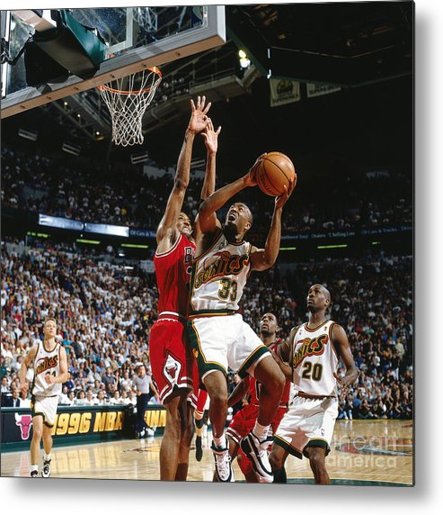 Nba Pro Basketball Metal Print featuring the photograph Hersey Hawkins and Scottie Pippen by Nathaniel S. Butler