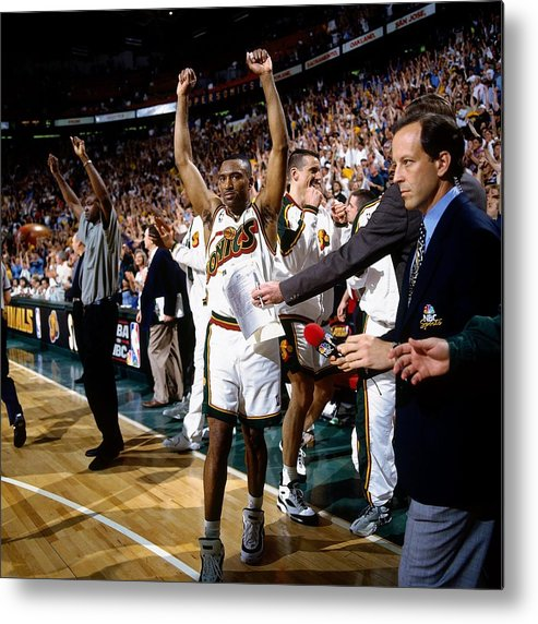 Nba Pro Basketball Metal Print featuring the photograph Hersey Hawkins by Andy Hayt