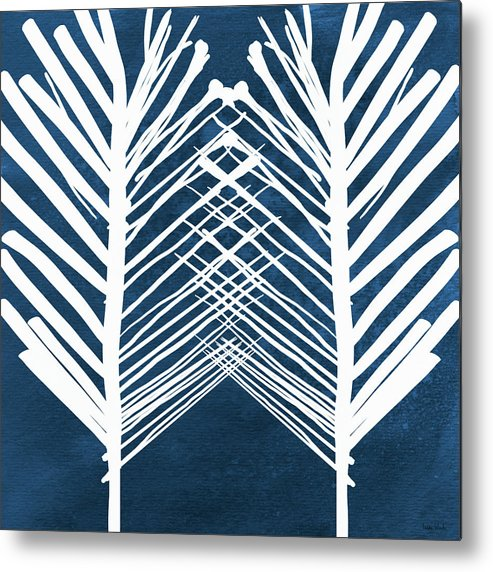 Leaves Metal Print featuring the painting Indigo and White Leaves- Abstract Art by Linda Woods