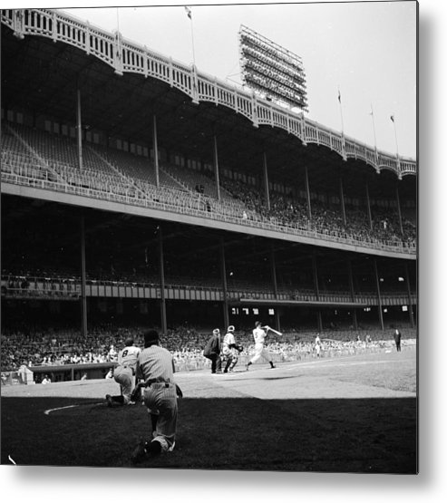 Motion Metal Print featuring the photograph Joe Dimaggio and Yogi Berra by Douglas Grundy