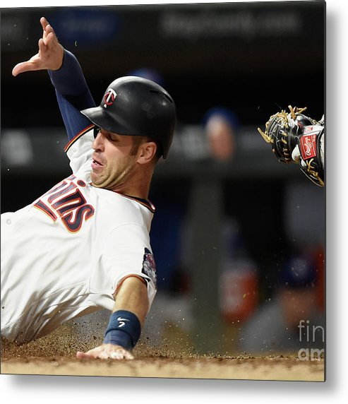 Three Quarter Length Metal Print featuring the photograph Joe Mauer and Russell Martin by Hannah Foslien
