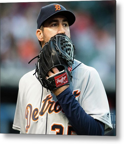 People Metal Print featuring the photograph Justin Verlander and Francisco Lindor by Jason Miller