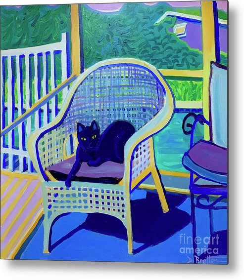 Black Cat Metal Print featuring the painting King Louis in the Screened Porch by Debra Bretton Robinson