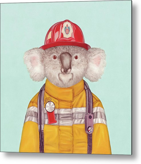 Metal Print featuring the painting Koala Firefighter by Animal Crew