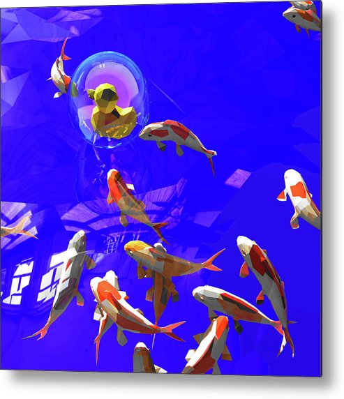 Koifish Metal Print featuring the digital art Koifish_and_Duckie by Heike Remy