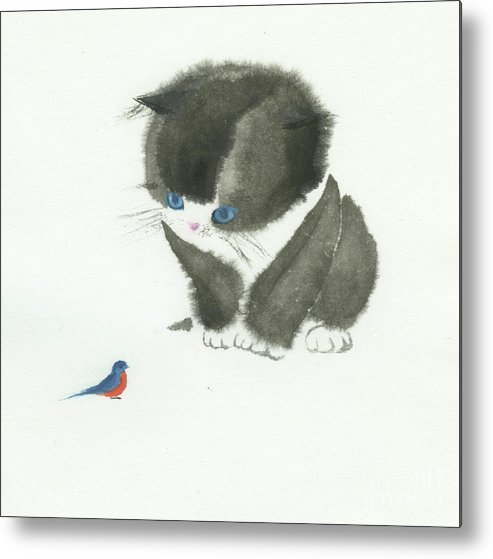 A Curious Little Cat Is Captivated By A Little Bird She Found. This Is A Simple Contemporary Chinese Brush Painting On Rice Paper. Metal Print featuring the painting Little Cat Found a Bird by Mui-Joo Wee