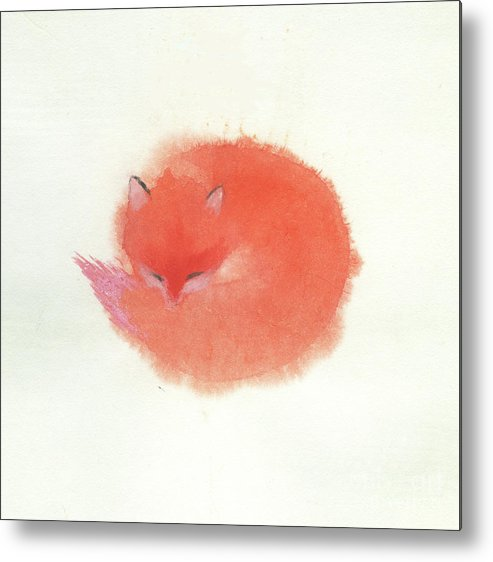 A Red Fluffy Little Fox Curls Up To Sleep In The Snow. It's A Simple Chinese Contemporary Brush Painting On Rice Paper. Metal Print featuring the painting Little Fox by Mui-Joo Wee