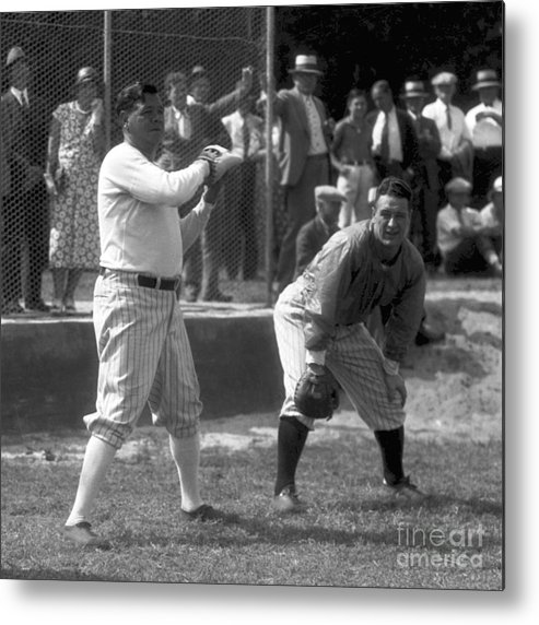 American League Baseball Metal Print featuring the photograph Lou Gehrig and Babe Ruth by Olen Collection