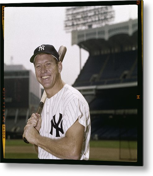 American League Baseball Metal Print featuring the photograph Mickey Mantle by Louis Requena