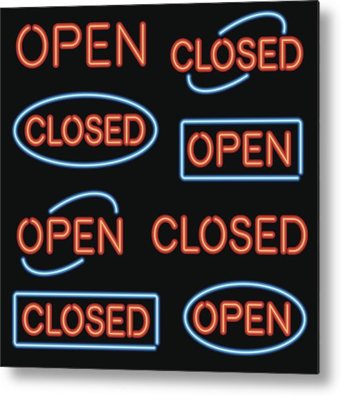 Icon Set Metal Print featuring the drawing Neon 'Open' and 'Closed' Sign Set by Bortonia
