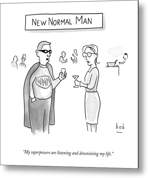A25367 Metal Print featuring the drawing New Normal Man by Bob Eckstein