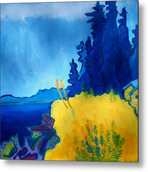 Seascape Metal Print featuring the painting Pemaquid Point by Debra Bretton Robinson